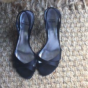 Stuart Weitzman Black Satin Sandal